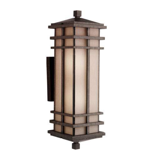 Kichler  9656AGZ Cross Creek 2-Light Outdoor Wall Lantern, Aged Bronze with Textured Linen Seedy Glass ()