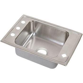 Elkay DRKR25172 18 Gauge Stainless Steel Single Bowl Top Mount Sink, 25