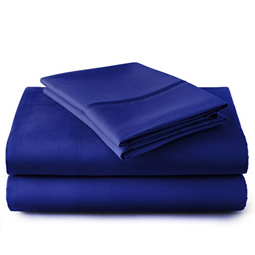 HC COLLECTION Hotel Luxury Comfort Bed Sheets Set, 1800 Series Bedding Set, Deep Pockets, Wrinkle & Fade Resistant, Hypoallergenic Sheet & Pillow Case Set(Twin, Royal Blue)