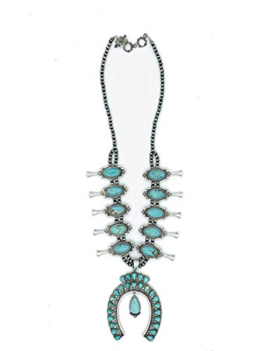 Jayde N' Grey Huge Dramatic Genuine Stone Navajo Southwestern Squash Blossom Tribal Turquoise Necklace Bundle: Necklace & Jewelry Bag - Blossom Necklace Sterling Silver Squash
