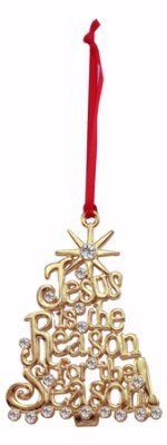 Cathedral Art, Jesus Is the Reason For the Season Ornament, Gold CO791G