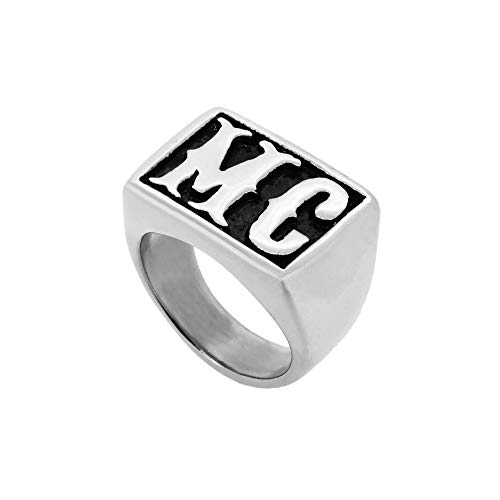 BINKILA Personalized 925 Sterling Silver Signet Radiant Monogram Ring Custom Made with Any Initials for Men (Silver)