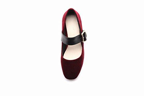 chunky Damen Shoes Jane Mee heels Halbschuhe vierkant Rot Mary E4qwP5a