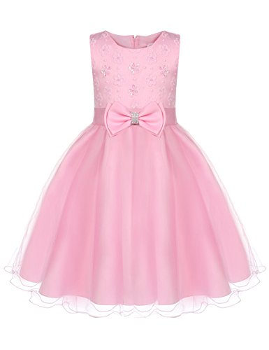 - DonKap Satin Bodice White Communion Flower Girl Wedding Party Pageant Dress Pink 7-8Y