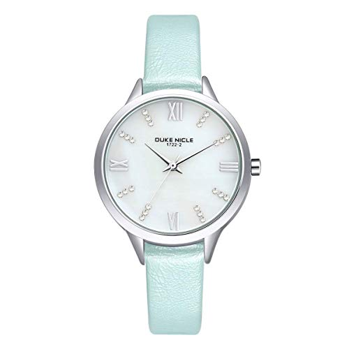 Womens Fashion Watch,Ladies Elegant Waterproof Quartz Rose Gold Case Roman Numeral Casual Wrist Watches with Soft Genuine Leather Band(Blue) ()