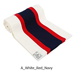 Wool Scarf: White / Red / Navy