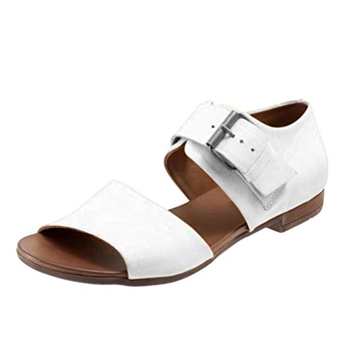 JJLIKER Women Summer Comfort Flat Sandals Peep Toe Ankle Buckle Strap Shoes Low Heel Leather Pumps White