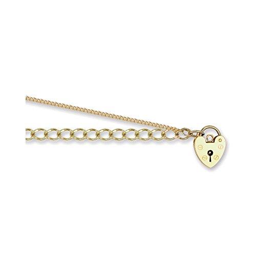 Jewelco Londres 9K amour cadenas or 4mm ouvert bracelet de charme