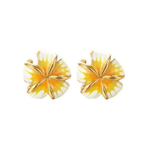 Fellala Vintage Stud Earrings for Women Gold Plated Enamel Yellow Flower Earrings