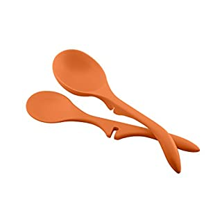 Rachael Ray Kitchen Tools and Gadgets Nonstick Utensils/Lazy Spoon and Ladle, 2 Piece, Orange