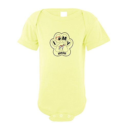 Price comparison product image BORZOI DOG I PAW MY Baby Bodysuit One Piece Yellow 1875 Months