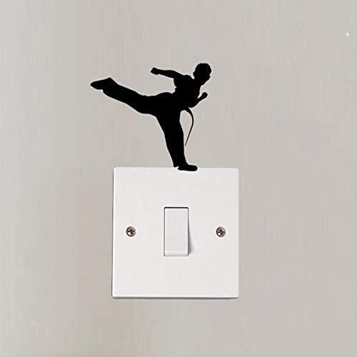 Hhuycvff vwuig Martial Karate Boy Silhouette Home decoratieve verlichting schakelaar Sticker