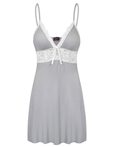Stretchy Modal Nightgowns for Ladies Strappy Lounge Dress Grey Size S - Negligee Nightie