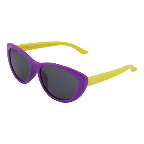 (Kids Flexible Rubber Sunglasses for Boys and Girls - Purple and Yellow Bendable and Unbreakable Cateye Frame with 100% UV Protection and Polarized Lenses - By Optix 55)