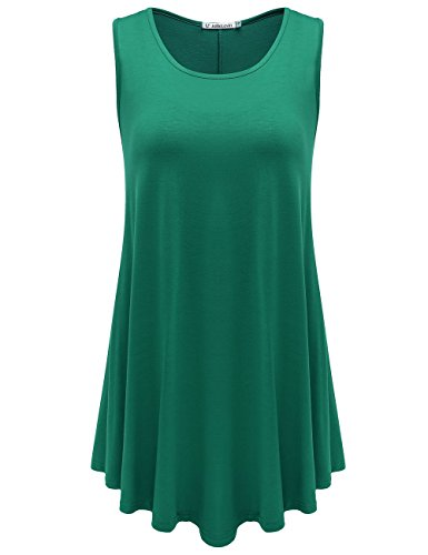 JollieLovin Womens Sleeveless Comfy Plus Size Tunic Tank Top with Flare Hem - Deep Green, XL (1X)