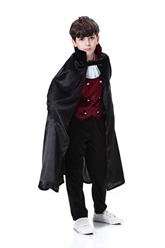 (YOLSUN Boys' Vampire Costume with Cape, Kids' Halloween Fearsome Dress up (Black vamprie, 7-9y(Suggested)