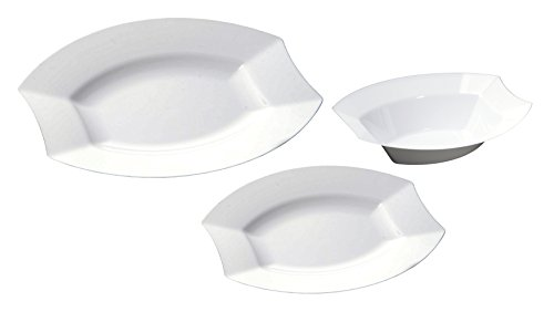 Table To Go 'I Can't Believe It's Plastic' 50-Piece Plastic Bowl Set | Vogue Collection | Heavy Duty Premium Plastic Plates for Wedding, Parties, Camping & More (Ivory) -