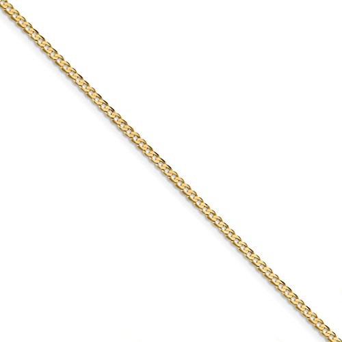 Ankle Bracelet Charm Foot Jewelry - ICE CARATS 14kt Yellow Gold 2.3mm Beveled Link Curb Chain Anklet Ankle Beach Bracelet 10 Inch : Fine Jewelry Ideal Gifts For Women Gift Set From Heart 14kt Gold Curb Chain Bracelet