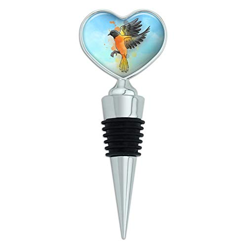 (Baltimore Oriole Watercolor Northeastern Bird Heart Love Wine Bottle Stopper)