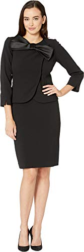 Tahari by ASL Women's Pebble Crepe Skirt Suit with Bow Detail Black 12 ()