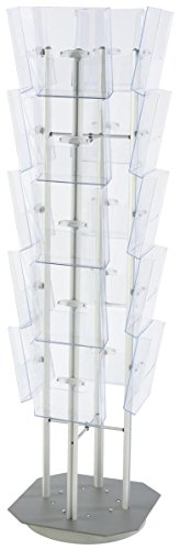 Displays2go Floor Standing Magazine Rack, Spinning, 20 Tiered Pockets, For 8.5 x 11 Inches Literature (FSRT4S20P) ()