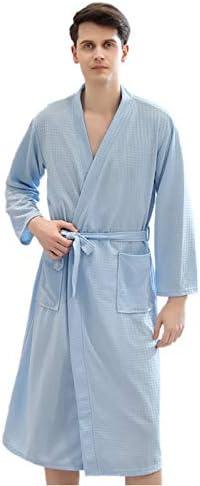 バスローブ メンズ ワッフル生地 ルームウェア 部屋着 パジャマ 速乾 腰ベルト付き カップルバスローブ