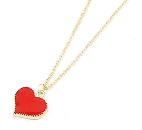 Enamel Heart Necklace - Aim And Achieve Trendy Small Red Enamel Heart Pendant - Lovers - First Love - RedH
