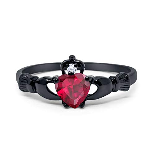 (Blue Apple Co. 925 Sterling Silver Claddagh Ring Black Tone Heart Shape Simulated Ruby Round Cubic Zirconia, Size - 6)