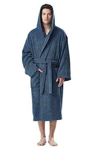 (Arus Men's Hooded Classic Bathrobe Turkish Cotton Robe with Full Length Options (XXL,Ocean Blue))