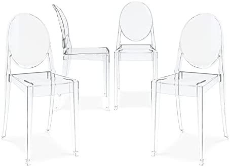 """Aron Living 18.5"""" Mid-Century Plastic Crystal Dining Chairs in Clear (Set of 4)"""