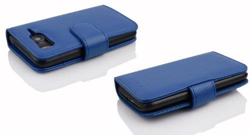 Cadorabo - Funda HTC DESIRE HD Book Style de Cuero Sintético en Diseño Libro - Etui Case Cover Carcasa Caja Protección con Tarjetero en ROJO-INFIERNO AZUL-REAL