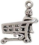 Child in Grocery Cart Charm Sterling Silver Child in Grocery Cart Charm Silver Child in Grocery Cart Charm Baby or Shopping Jewelry
