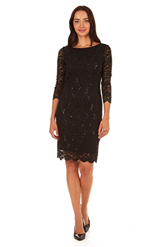 Tiana B. Women's 3/4 Sleeve Sequin Lace Sheath Dress Black 12