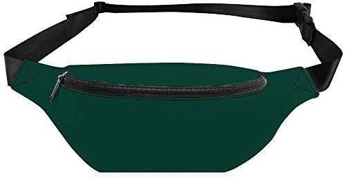 濃い緑色の固体野球チームの色 ウエストバッグ ショルダーバッグチェストバッグ ヒップバッグ 多機能 防水 軽量 スポーツアウトドアクロスボディバッグユニセックスピクニック小旅行