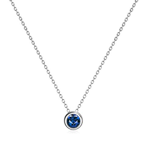 (AXELUNA 925 Sterling Silver Created Blue Sapphire Necklace for Women Teen Girls (September Birthstones))