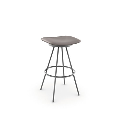 Amisco Beacon Swivel Metal Counter Stool, 26-Inch, Magnetite/Pewter