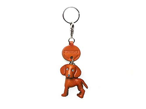 Weimaraner Leather Dog Small Keychain VANCA Craft-Collectible Keyring Charm Pendant Made in Japan