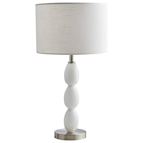 Stone & Beam Modern Glass Curved Base Nightstand Table Lamp With LED Light Bulb - 12 x 12 x 22.5 Inches, White (Adesso Table End Glass)