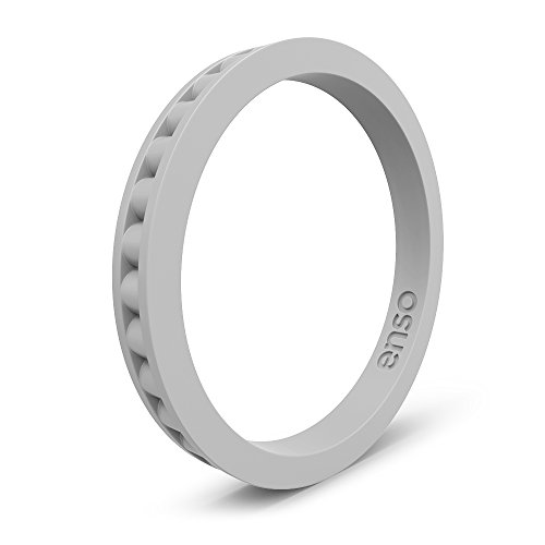 Enso Rings Column Silicone Ring Misty Grey Size: 11 (Accents Grey Silicone)