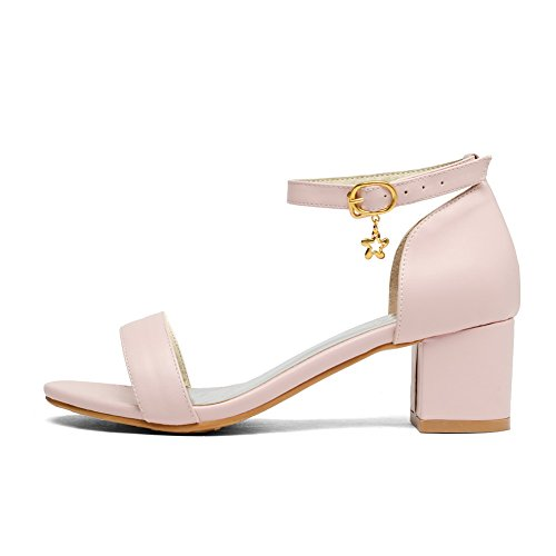 VogueZone009 Women's Buckle Kitten Heels Pu Solid Open Toe Sandals with Charms Pink slcBPR1b2