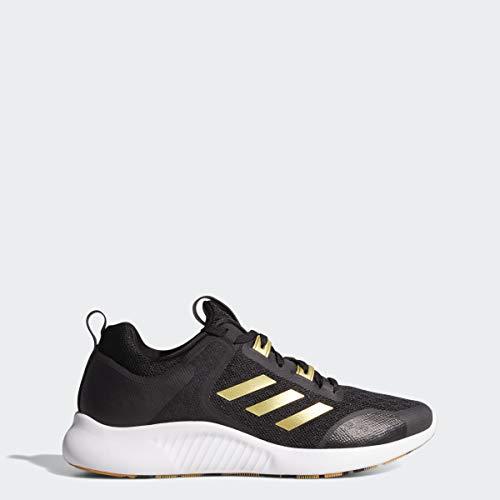 adidas Women's Edgebounce 1.5 Running Shoe, Black/Gold Metallic/White, 9 M US
