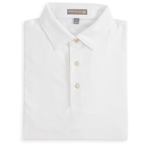 - PETER MILLAR MENS SOLID STRETCH JERSEY POLO WHITE-L