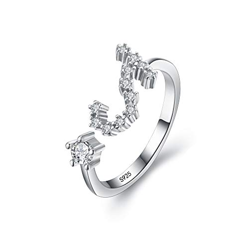 (BriLove 925 Sterling Silver CZ Statement Ring for Women -