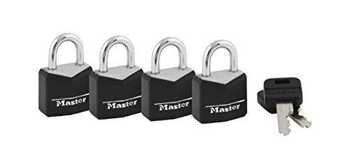 Master Lock 121Q 3/4'' Black Vinyl Cover Brass Padlock 4 Count