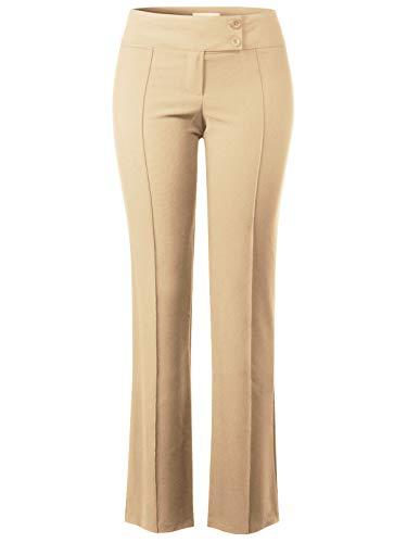 Instar Mode Women's High Waist Slim Boot-Cut Stretch Pin Line Pants Khaki 2XL