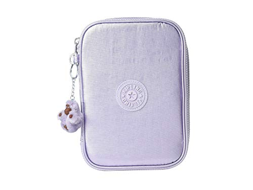 Kipling 100 Pens Pencil, Essential Everyday Case, Zip Closure, frosted lilac metallic