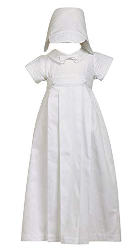 100% Cotton White Weaved Romper with Detachable Gown - Size L (12-18 Month) -