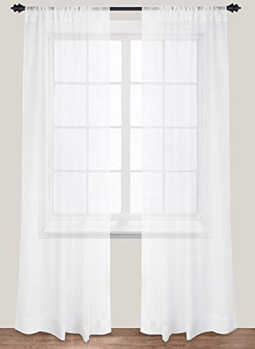 Premium White Sheer Curtains - Sheer Voile - White Luxurious - High Thread Window Curtains - 2 Panel Set - 54 by 84 Inches - by Utopia Bedding (Panel Set Curtain White)