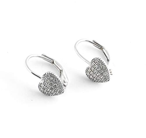 925 Solid Sterling Silver Puffy Heart Dangling Earrings Leverback  - Dangle Allergy Free Jewelry