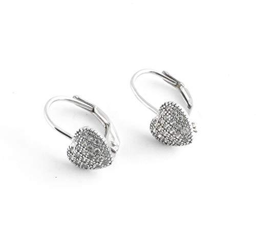 Tisoro Sterling Silver Puffy Heart Earrings Lever Backs - 100% Hypoallergenic & Allergy Free Jewelry (Childrens Heart Leverback Earrings)